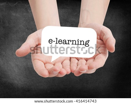 e-learning written on a speechbubble - stock photo