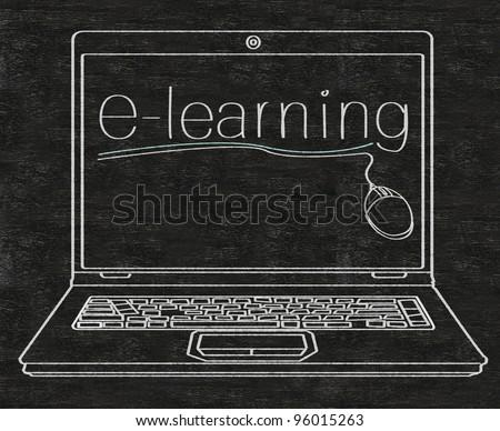 e learning written on computer screen on blackboard - stock photo