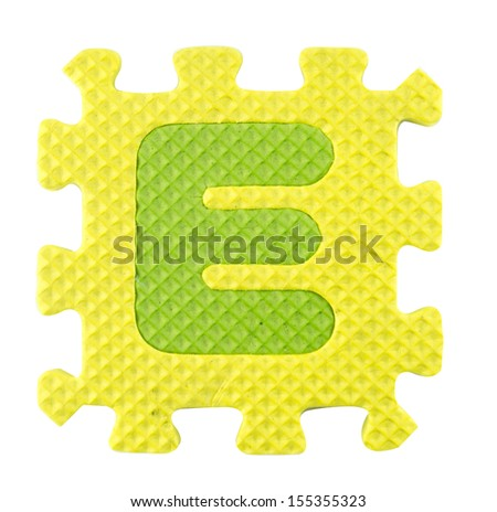 E letter, Alphabet puzzle isolated on white background , with clipping path. - stock photo