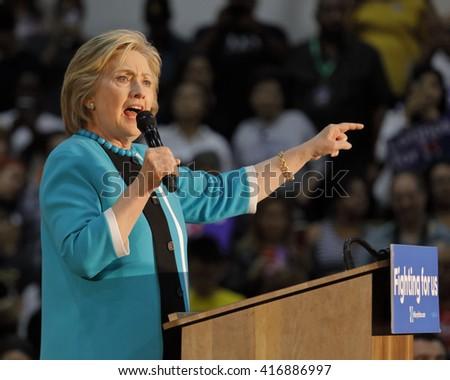 E LOS ANGELES COLLEGE, MONTEREY PARK, CA - MAY 5, 2016 - Cinco de Mayo, Secretary State Hillary Clinton Addresses Mostly Latino Presidential Rally - stock photo