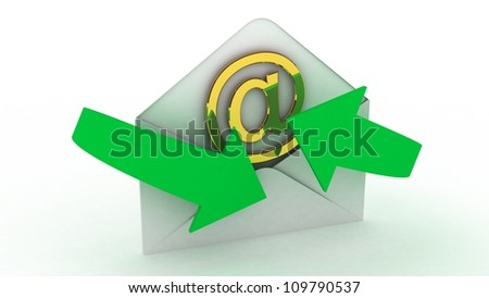 E-mail and internet messaging concept: post envelopes and golden email symbol isolated on white background - stock photo