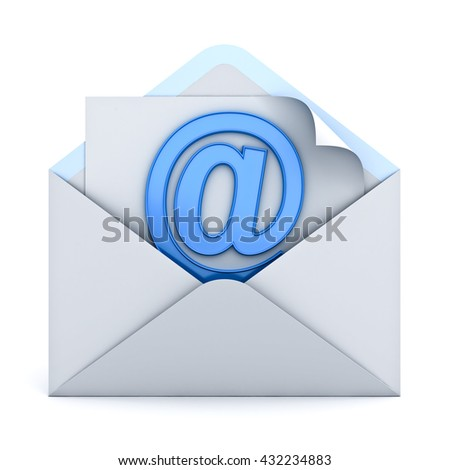 E mail concept isolated over white background. 3D rendering. - stock photo