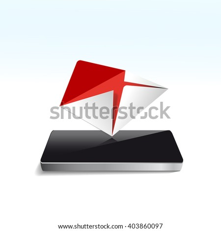 E-Mail concept - Mailbox with Mail on Screen smartphone,  icon isolated on white background - stock photo