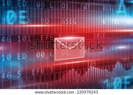 E-Mail concept with red background small red envelope - stock photo