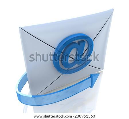 E-mail Envelope and blue arrow  - stock photo
