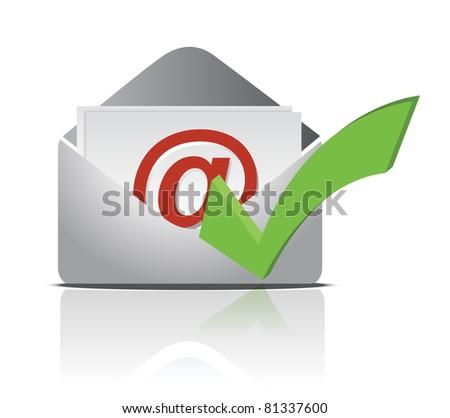 E mail icon and validation illustration design - stock photo