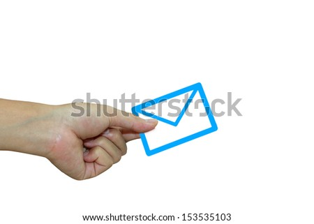 e-mail in the hand - stock photo