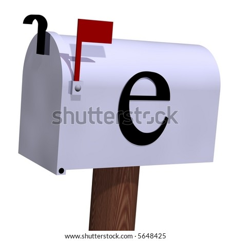 e-mail mailbox isolated on white - stock photo