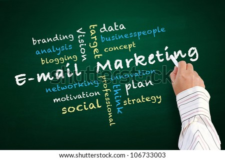 E-mail marketing concept and other related words, hand written on chalkboard - stock photo