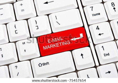 E-mail marketing key in place of enter key - stock photo