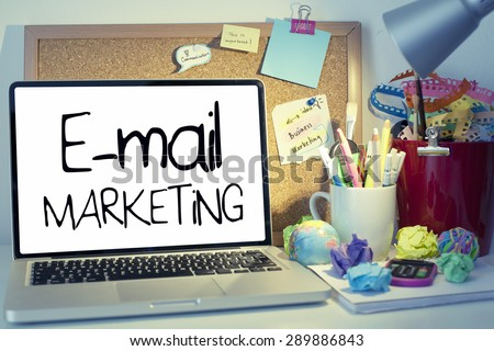 E-mail Marketing / Mail marketing concept on laptop in office interior - stock photo