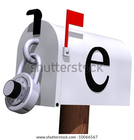 E-mail security concept isolated on white - stock photo