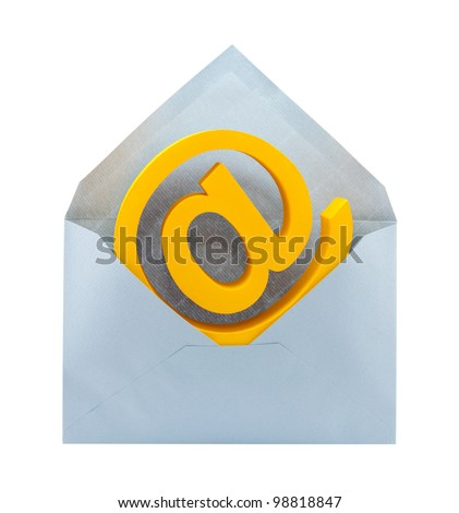 E-mail symbol and envelope with clipping path - stock photo