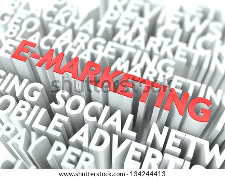 E-Marketing Concept. The Word of Red Color Located over Text of White Color. - stock photo