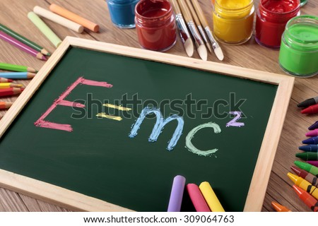 E=MC2 Einstein's famous physics formula written on blackboard - stock photo