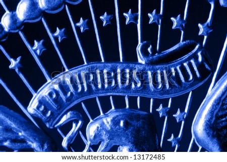 E Pluribus Unum Motto on Vintage, Retro, 1967 United States Half Dollar - stock photo
