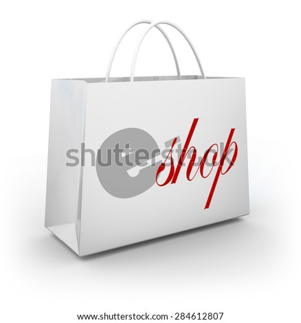 e-Shop words on a white bag to illustrate an online or digital store selling products and merchandise with special sale, discount, offers or coupons - stock photo