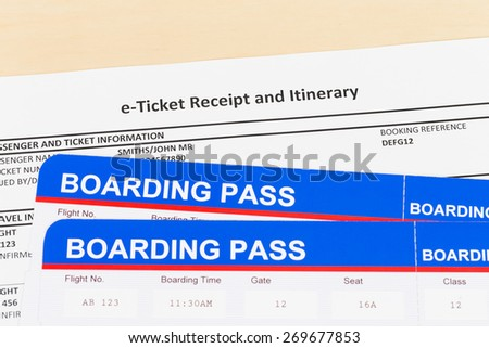 E-ticket and boarding pass; these are mock-up - stock photo