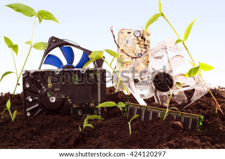 E waste concept, bunch of computer parts laying in the ground  - stock photo