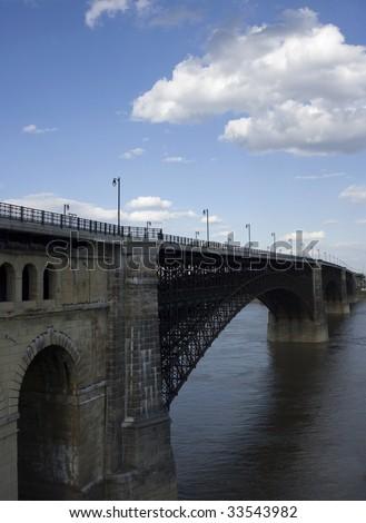 Eads Bridge in St. Louis, MO - stock photo
