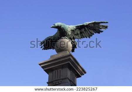 Eagle at Eagles' bridge in Sofia, Bulgaria - stock photo