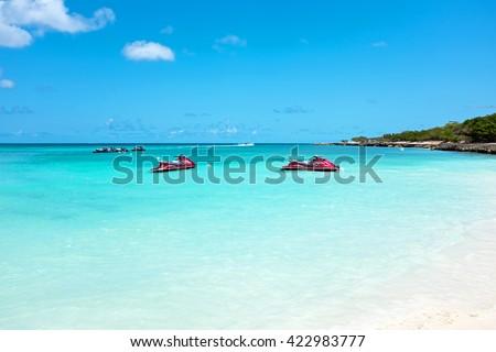Eagle beach on Aruba island in the Caribbean - stock photo