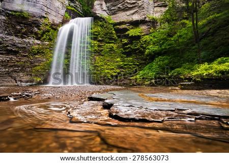 Eagle Cliff Falls, at Havana Glen Park in the Finger Lakes Region of New York State. - stock photo
