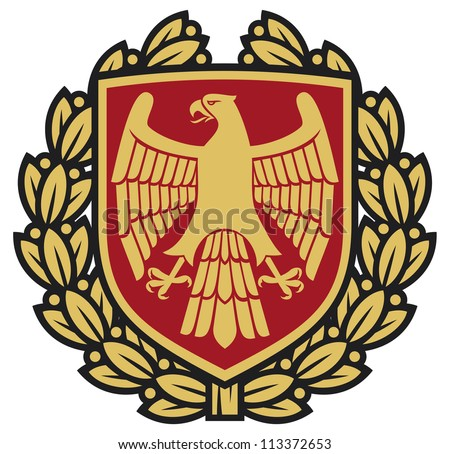 eagle emblem (eagle coat of arms, eagle symbol, eagle badge, eagle shield and laurel wreath) - stock photo