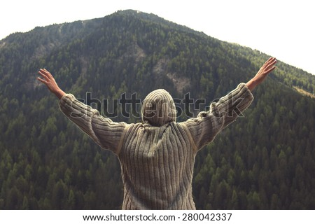 eagle man flying to the top - stock photo