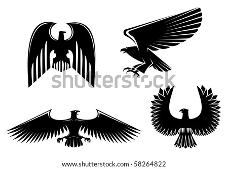 Eagle symbol isolated on white - also as emblem, such a logo. Vector version also available in gallery - stock photo