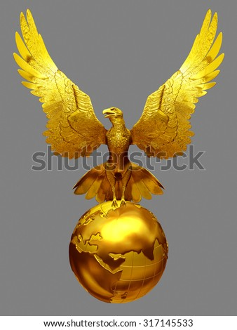 eagle with open wings on globe in gold - stock photo