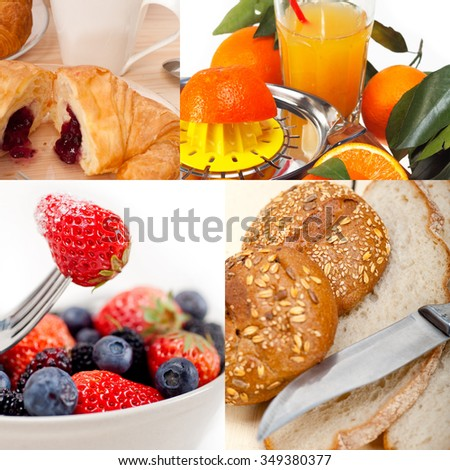 ealthy fresh nutritious vegetarian breakfast collage composition set - stock photo