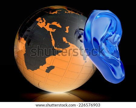 Ear gold 3d on earth render isolated on black background. Global  - stock photo
