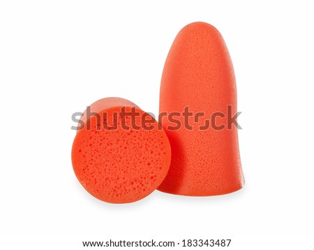 Ear plugs on a white background  - stock photo