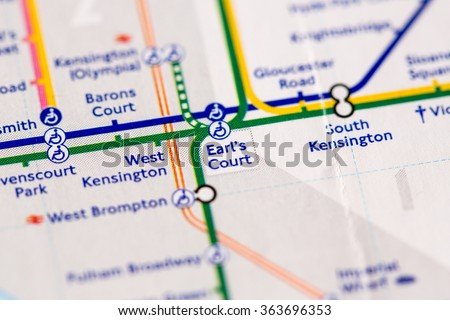 Earl's Court Station on a map of the Piccadilly metro line in London, UK. - stock photo