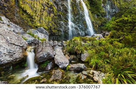 Earland Falls on Routeburn Track in New Zealand - stock photo
