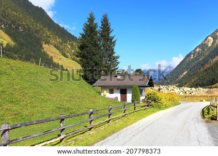 Early autumn in the Austrian Alps. The beautiful sunny day in the national park of the Grossglockner. The famous Alpine road Grossglocknershtrasse - stock photo