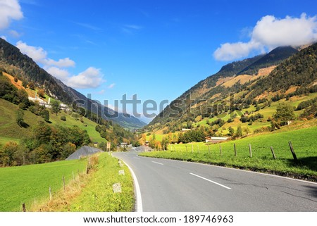 Early autumn in the Austrian Alps The beautiful sunny day in the national park of the Grossglockner. The famous Alpine road Grossglocknershtrasse - stock photo