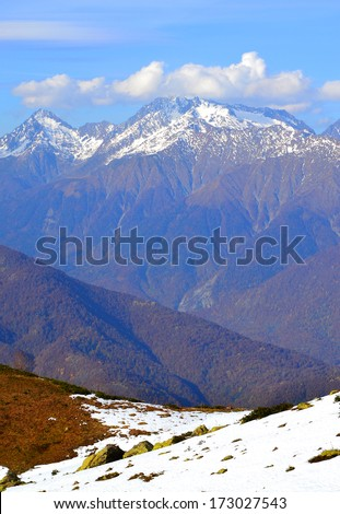 Early autumn in the mountains of Krasnaya Polyana, Sochi. Ridge Achishkho - the wettest place in Russia - stock photo