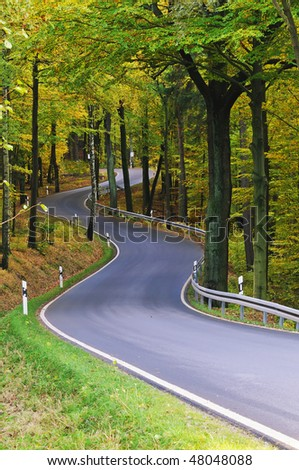 Early autumn - road winding through the forest. - stock photo