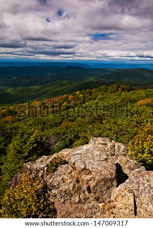 Early autumn view of the Blue Ridge Mountains from Bearfence Mountain, Shenandoah National Park, Virginia. - stock photo