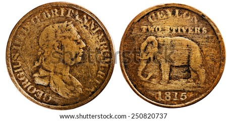 Early British coins had a standing Elephant facing left with CEYLON GOVERNMENT. The locally minted copper dump coins from 1801 to 1816 had value as a fraction of a Rix Dollar (48 Stivers). - stock photo