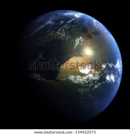 Early Cretaceous Earth: 145 Million Years Ago - stock photo