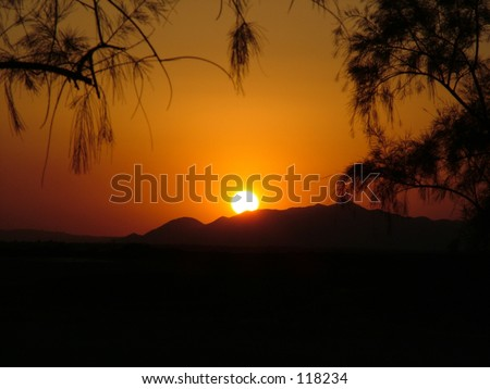 early evening sunset over the mountains of California - stock photo