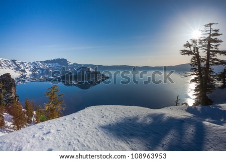 Early morning at Crater Lake national park with Wizard island - stock photo