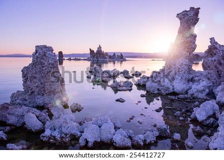 Early morning at Mono Lake and itâ??t famous tufa formations. California. - stock photo