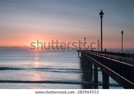 Early Morning at New Brighton Pier. Christchurch, New Zealand - stock photo
