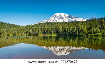 Early Morning at Reflection Lakes, Mount Rainier, Mount Rainier National Park, WA - stock photo