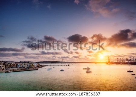 Early morning at South West Malta. Birzebbuga town. - stock photo