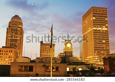 Early Morning in the center of Louisville, Kentucky - stock photo